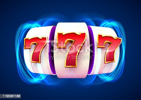 Slot machine coins wins the jackpot. 777 Big win casino concept. Vector illustration