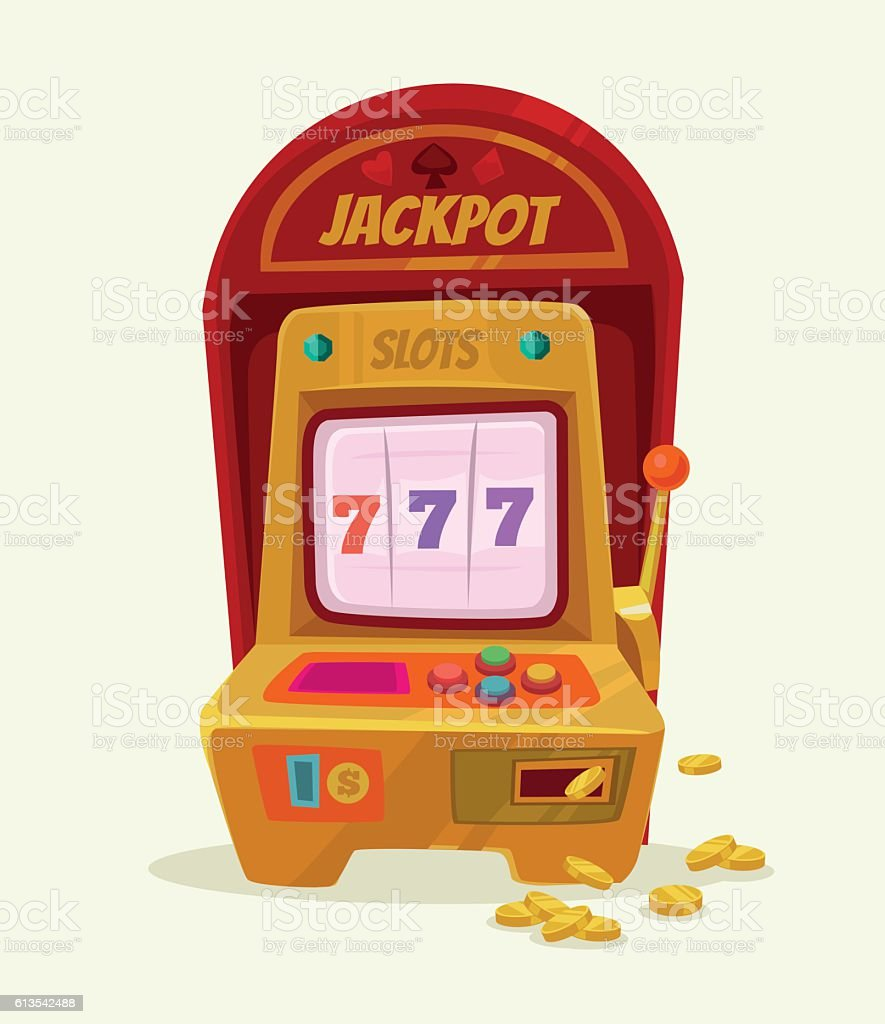 Slot machine with 777 and money vector art illustration