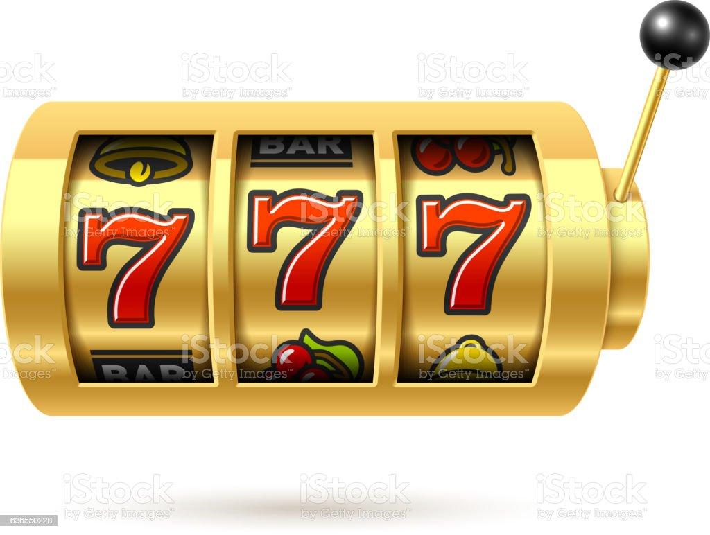 Slot machine with lucky sevens jackpot vector art illustration