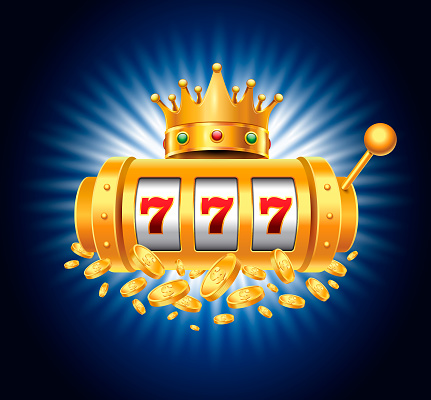 Slot Machine with Royalty Crown and Falling Coins on the Blue Background