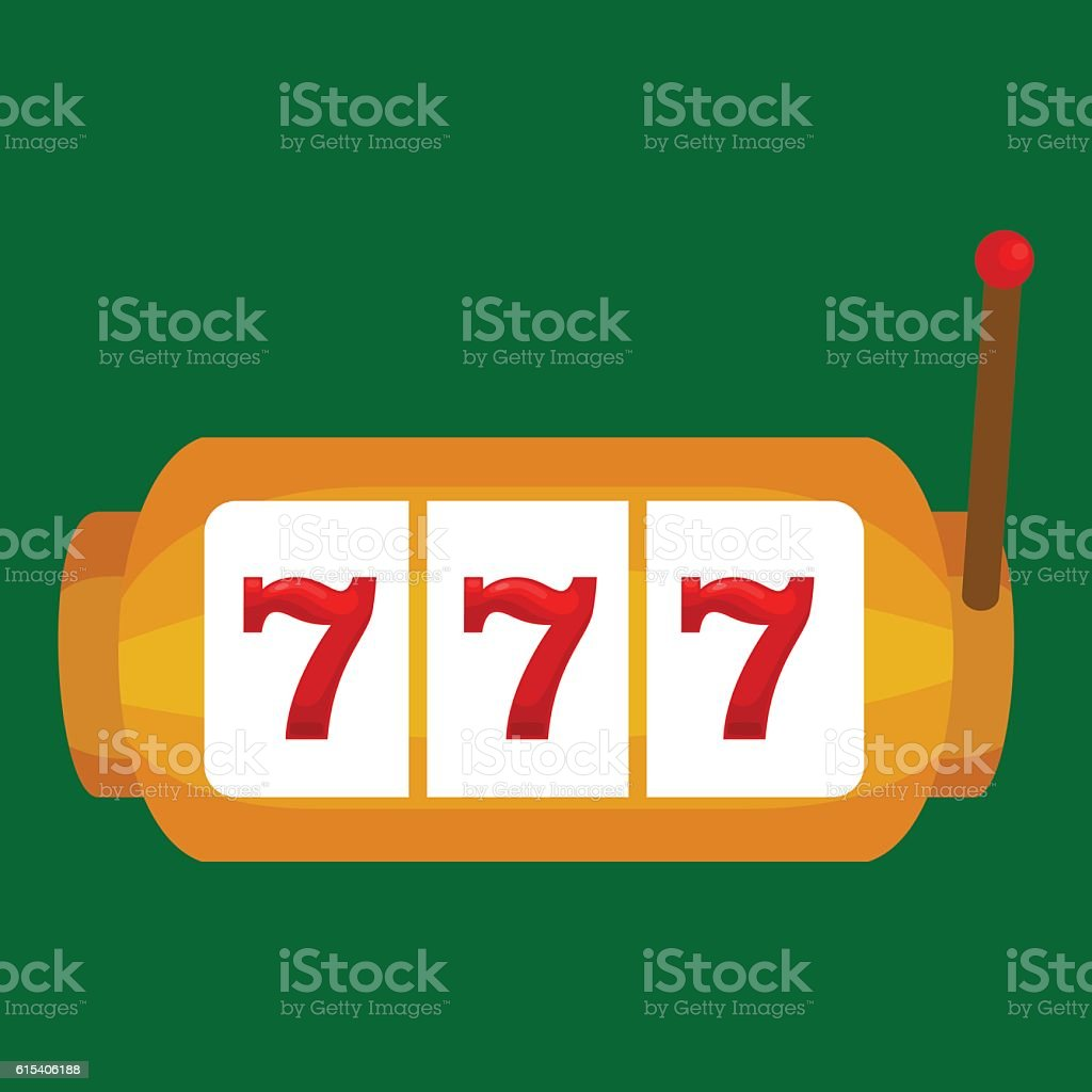 Slot machine with three seven s isolated on green background vector art illustration