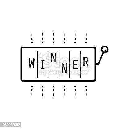 Slot machine with word winner shirt design vector. Line style black on white roulette illustration.