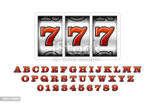 Slot machine with lucky seventh jackpot, 777. Slot machines retro font, letters and numbers, vector illustration