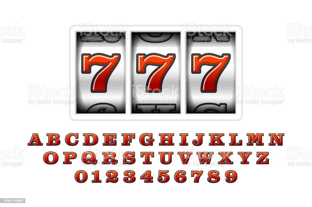 Slot machines retro font vector art illustration