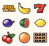 Slot symbols for casino games. EPS 8.0, Ai CS, PDF and JPEG (5000 x 4739) are included in package.