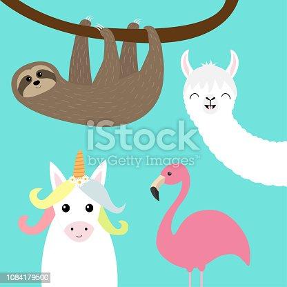Sloth, alpaca, llama, flamingo, unicorn set. Cute cartoon funny kawaii character. Childish baby collection. T-shirt, greeting card, poster template print. Flat design. Blue background.