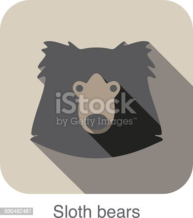 Sloth bear face flat icon design. Animal icons series.