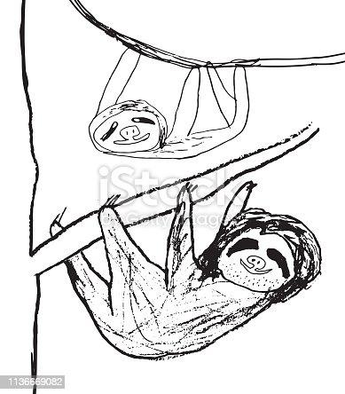 Hand drawn sloth. Animal