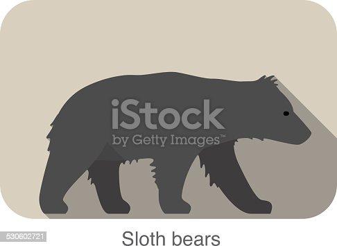 Sloth bear walking side flat 3D icon design