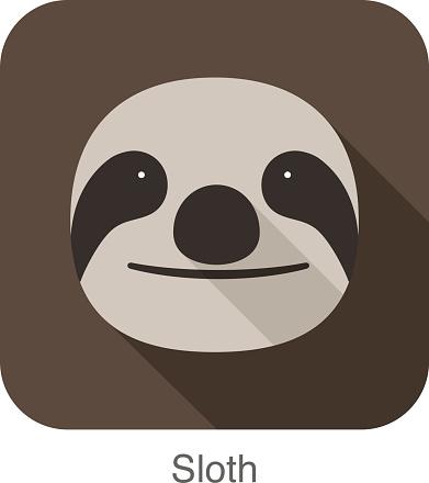 Sloth cartoon face, flat icon design