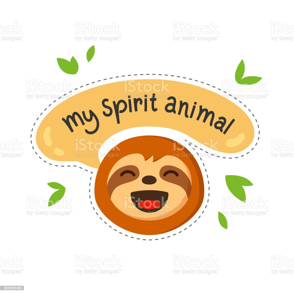 Sloth cartoon with quote My spirit animal. Sloth character emoticon drawn in flat style vector illustration. vector art illustration
