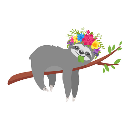 sloth character in floral wreath