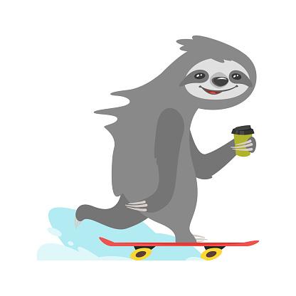sloth character riding skateboard