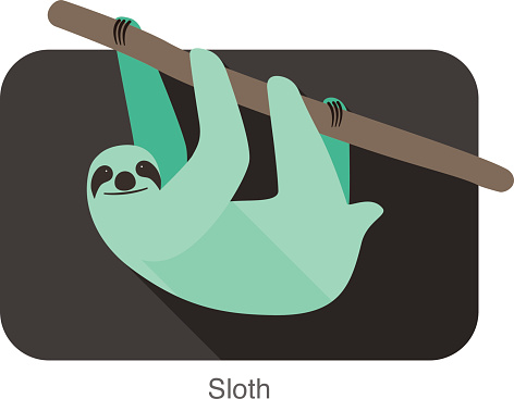 Sloth climbing the tree  flat design, Vector