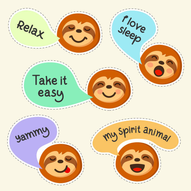 Sloth emoji with quotes set of flat isolated. Sloth cartoon character emoticons drawn in doodle style vector illustration. vector art illustration