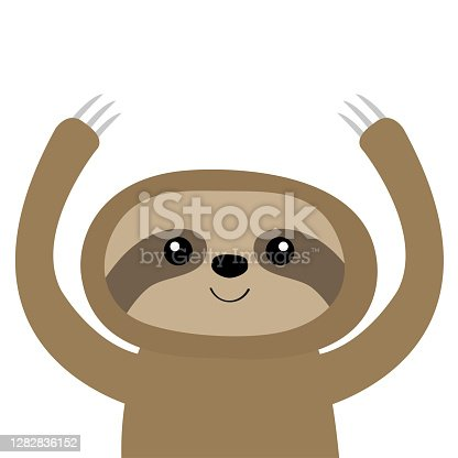 Sloth icon. Cute cartoon kawaii baby character. Funny face. Holding hands up. Give a hug. Wild jungle animal collection. Kids education. Tshirt, greeting card print. Flat design. White background.