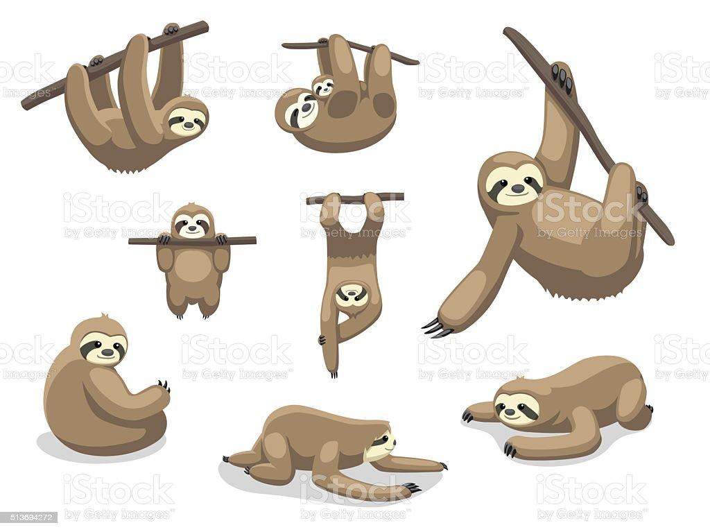Preguiça posa Desenhos animados Ilustração vetorial - ilustração de arte em vetor