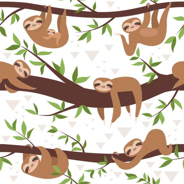 faultier nahtlos. niedliche kleine verschlafene baby tierische textile muster familie hängende vektor-konzept - faul ast stock-grafiken, -clipart, -cartoons und -symbole