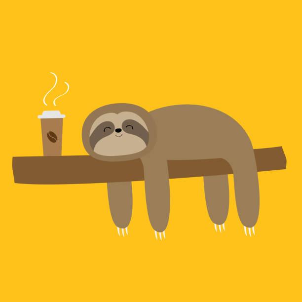 faulheit schläft auf baumzweig. niedlich faule cartoon-kawaii lustigen charakter. ich liebe kaffee-papier-tasse getränk. mach langsamer. wilde joungle tiersammlung. abgeschnitten. gelber hintergrund. flaches design. - faul ast stock-grafiken, -clipart, -cartoons und -symbole