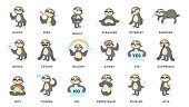 Sloth sticker set.