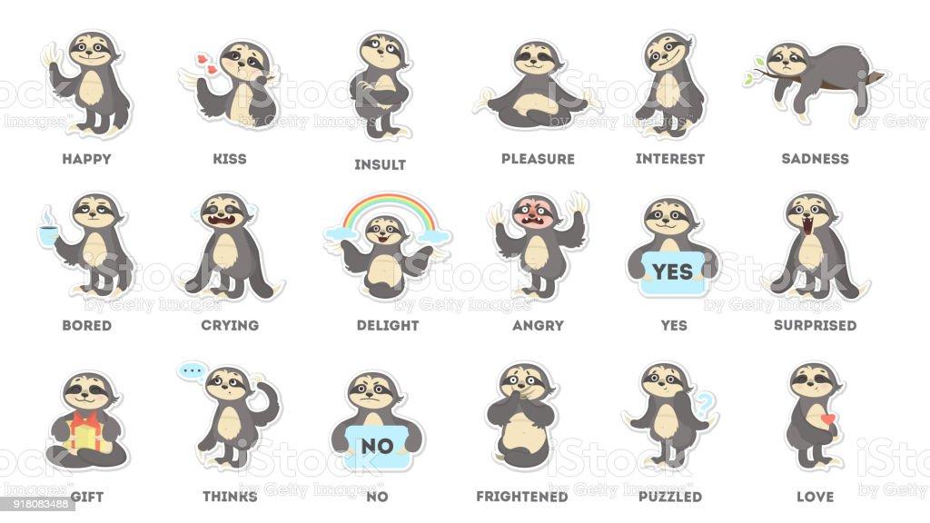 Sloth sticker set. vector art illustration