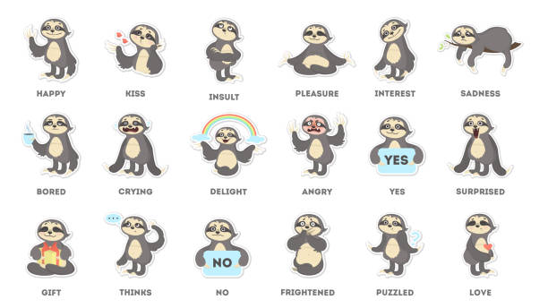 Sloth sticker set. vector art illustration