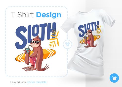 Sloth surfer. Print on T-shirts, sweatshirts and souvenirs.