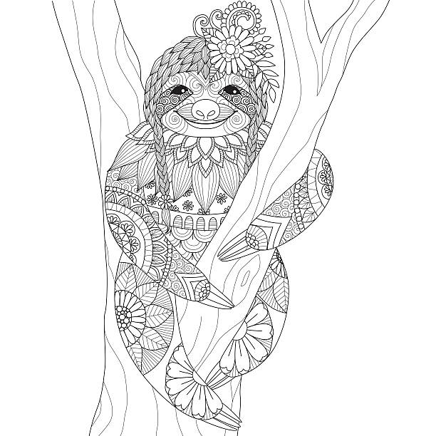 Sloth Sloth design for coloring book for adult and other decorations animal markings stock illustrations