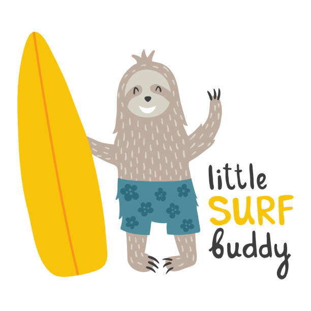 sloth vector illustration of a funny sloth holding a surfboard baby sloth stock illustrations