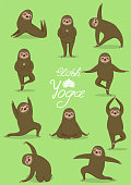 Sloth yoga. Different poses. Vector set. All elements are isolated. Cute animals.