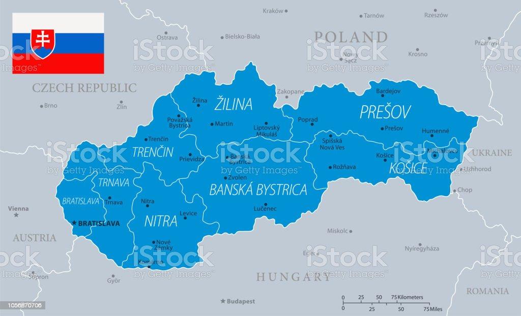 33 - Slovakia - Blue Gray 10 vector art illustration