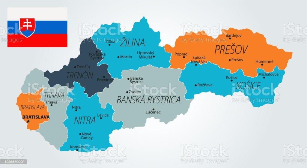 13 - Slovakia - Blue-Orange 10 vector art illustration