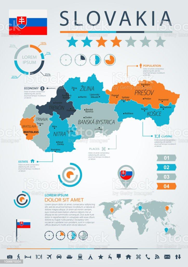 12 - Slovakia - Blue-Orange Infographic 10 vector art illustration