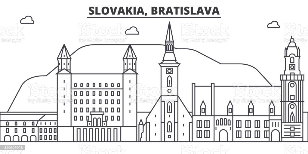 Slovakia, Bratislava architecture line skyline illustration. Linear vector cityscape with famous landmarks, city sights, design icons. Landscape wtih editable strokes vector art illustration