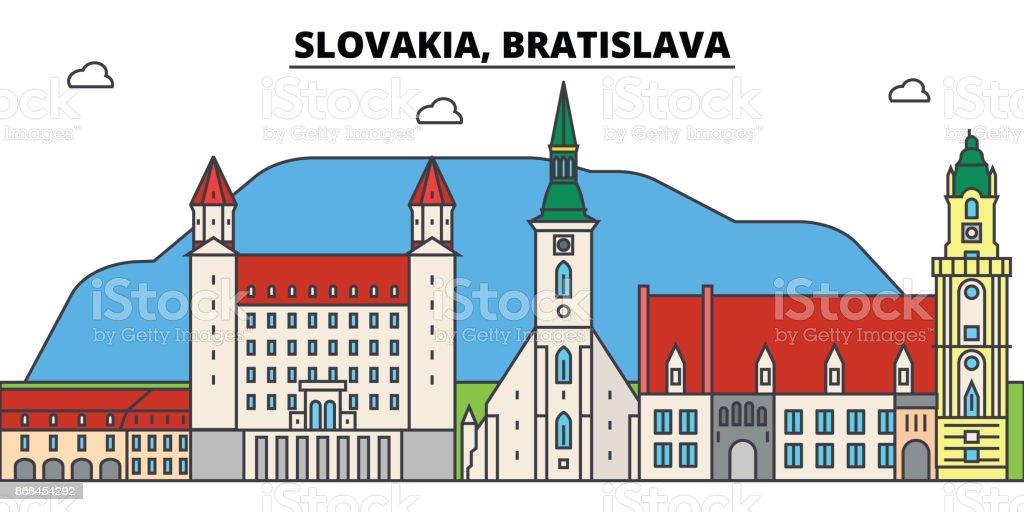 Slovakia, Bratislava outline city skyline, linear illustration, banner, travel landmark, buildings silhouette,vector vector art illustration