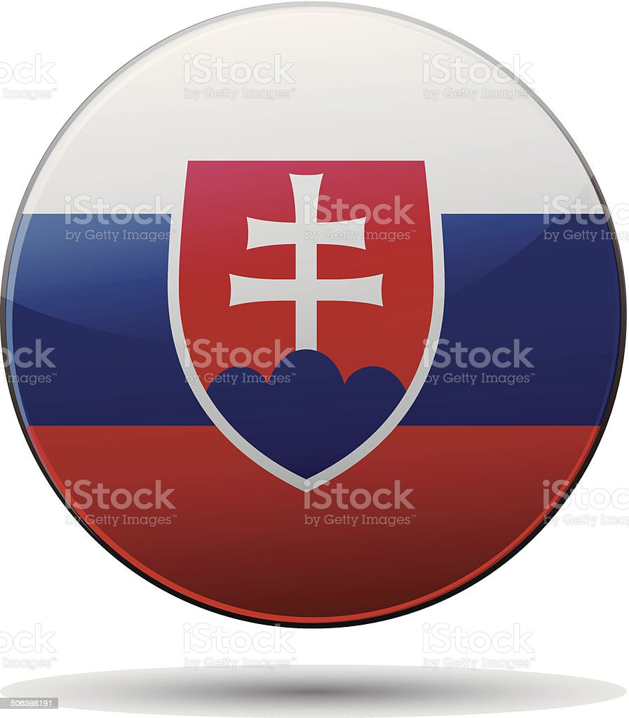 Slovakia flag button with reflection and shadow. Isolated glossy vector art illustration