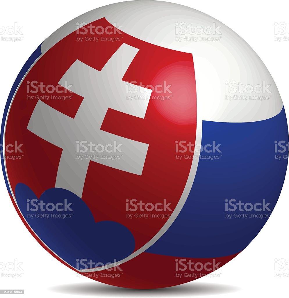 Slovakia flag on a 3d ball with shadow vector art illustration