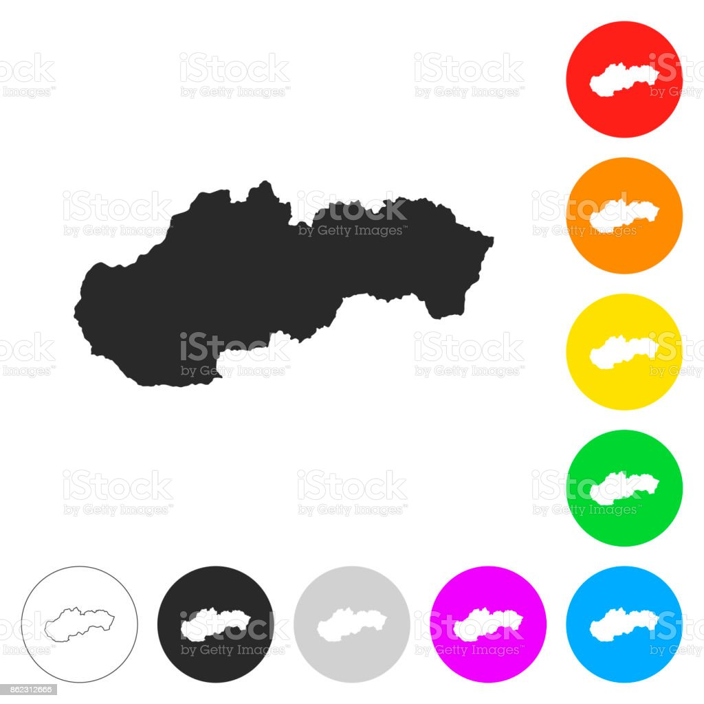 Slovakia map - Flat icons on different color buttons vector art illustration