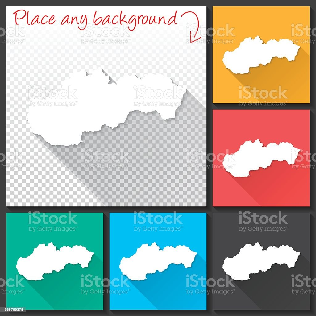 Slovakia Map for design, Long Shadow, Flat Design vector art illustration