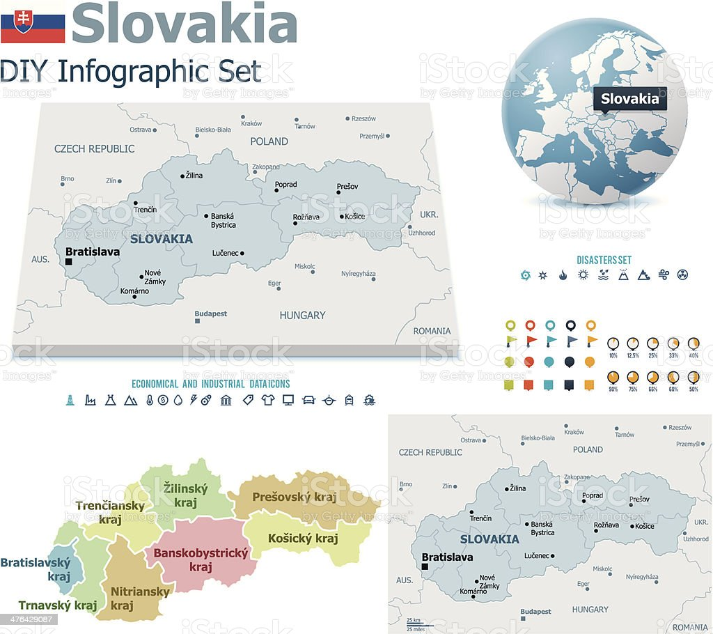 Slovakia maps with markers royalty-free stock vector art