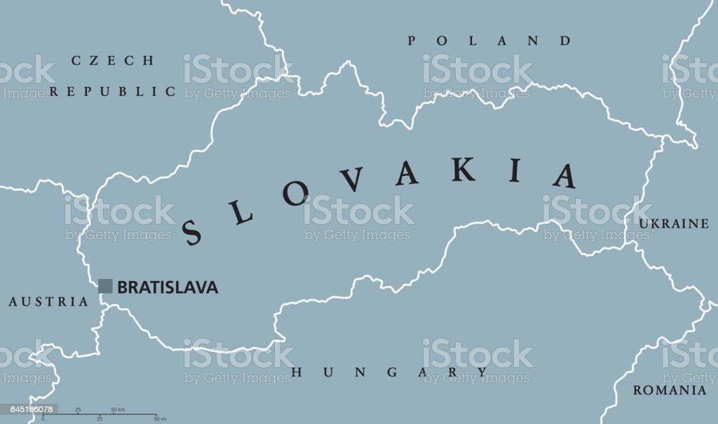Slovakia political map vector art illustration