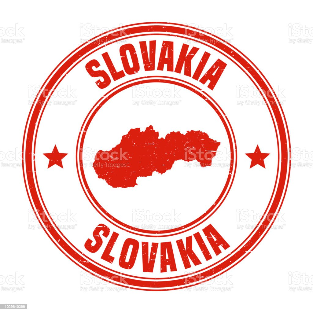 Slovakia - Red grunge rubber stamp with name and map vector art illustration