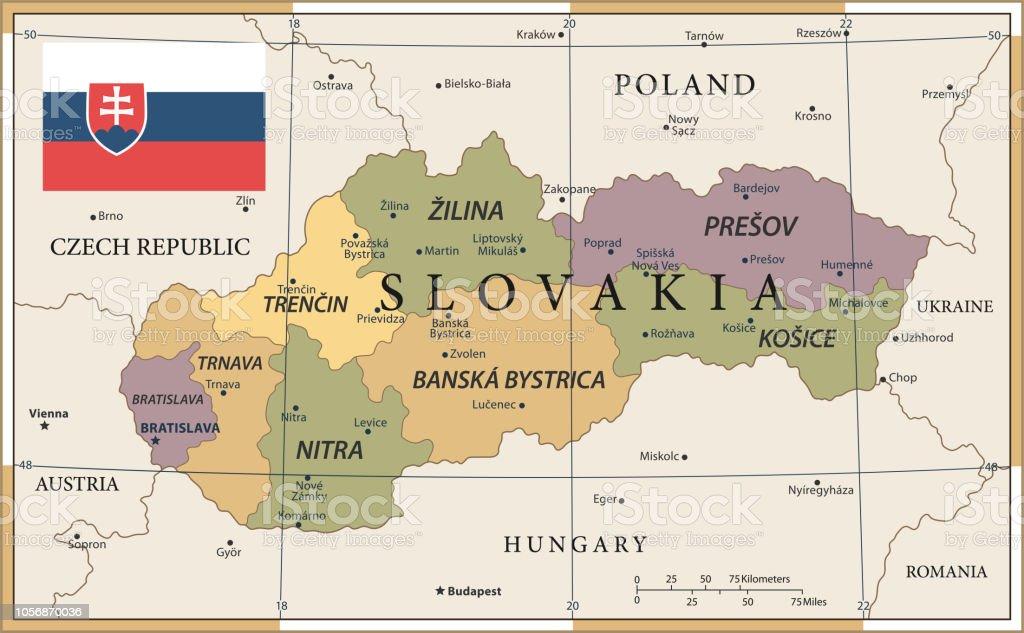 20 - Slovakia - Vintage Color Dark vector art illustration