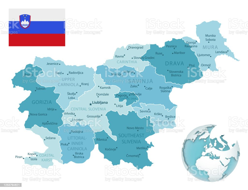 Picture of: Slovenia Administrative Bluegreen Map With Country Flag And Location On A Globe Stock Illustration Download Image Now Istock