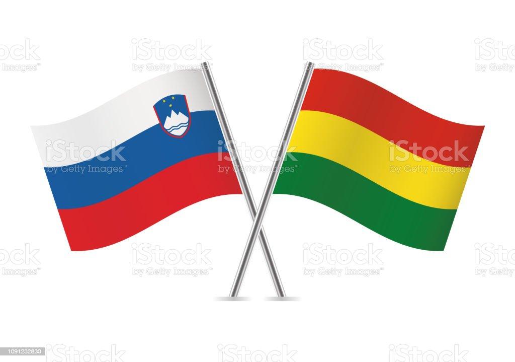 Banderas de Eslovenia y Bolivia. Ilustración de vector. - ilustración de arte vectorial