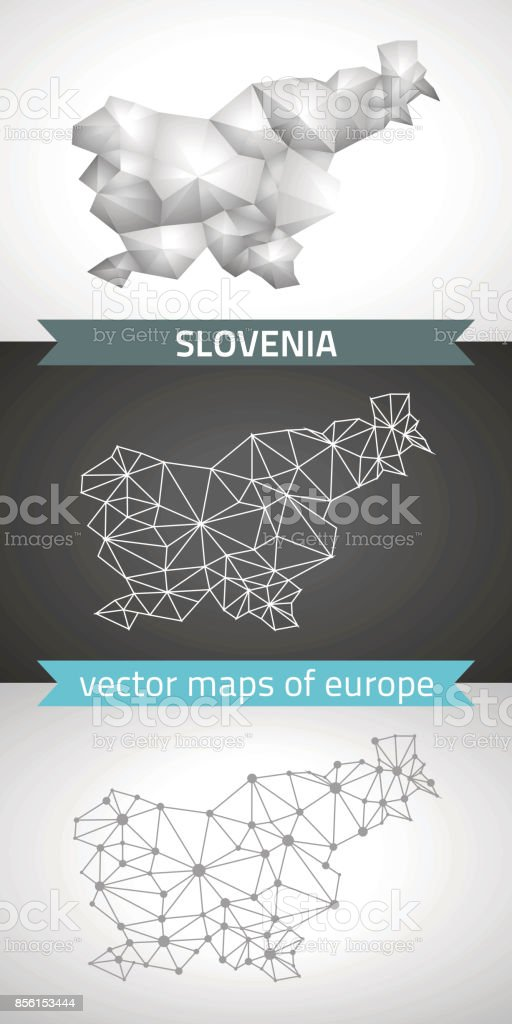Slovenia collection of vector design modern maps, gray and black and silver dot contour mosaic 3d map vector art illustration