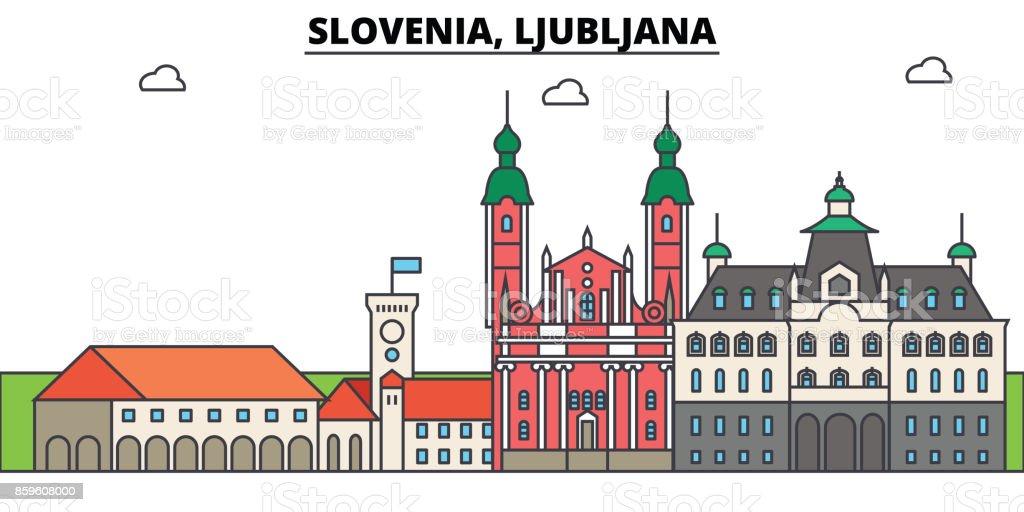 Slovenia, Ljubljana. City skyline, architecture, buildings, streets, silhouette, landscape, panorama, landmarks. Editable strokes. Flat design line vector illustration concept. Isolated icons set vector art illustration