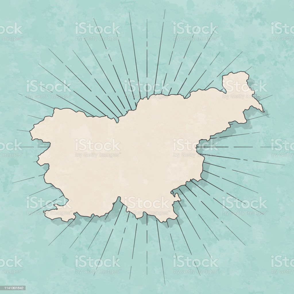 Map of Slovenia in a trendy vintage style. Beautiful retro...