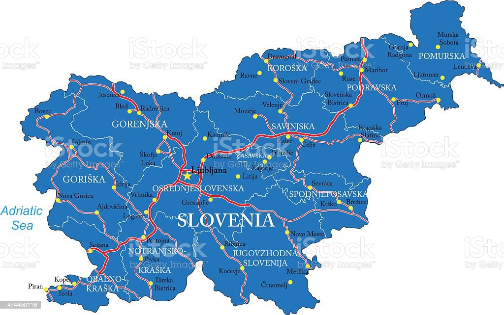 Slovenia map vector art illustration