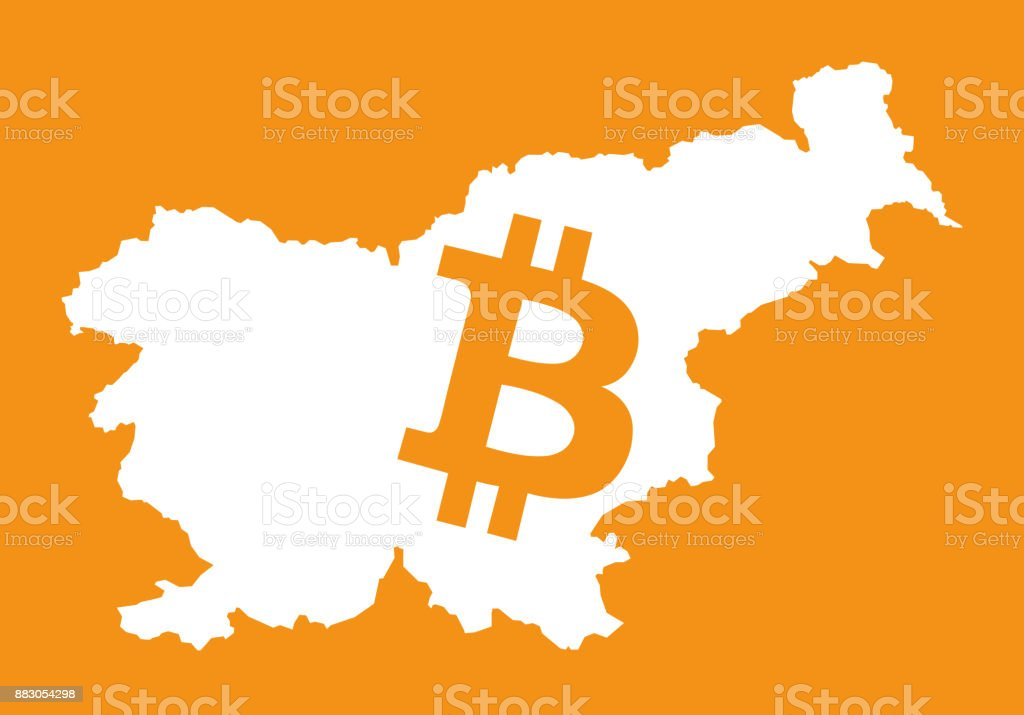 Slovenia Map With Bitcoin Crypto Currency Symbol Illustration Stock